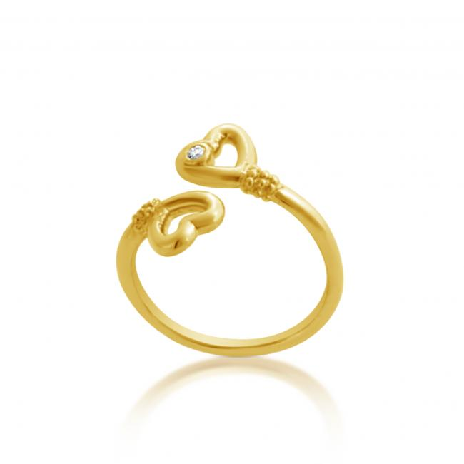 Gold plated ring 2mm (0.03 ct. tw) Diamond Two Hearts Lovers