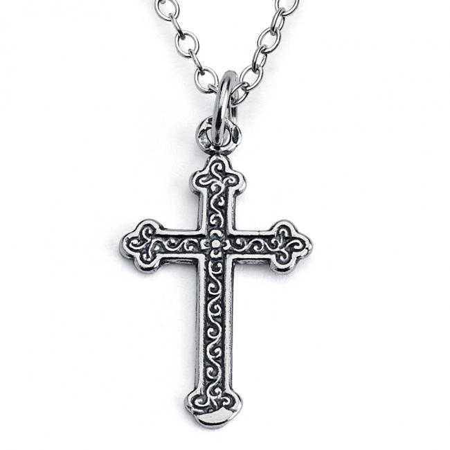 925 sterling silver necklace Budded Cross Religious Double Sided