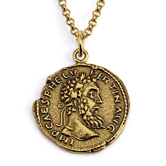 Gold plated necklace Replica Pertinax Roman Emperor Ancient COIN