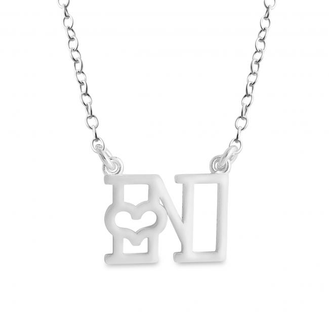 925 sterling silver necklace Initial Letter N with Heart Sideways