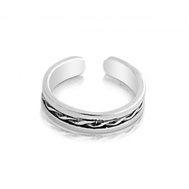 925 sterling silver ring Intertwined Rope Adjustable Toe Ring