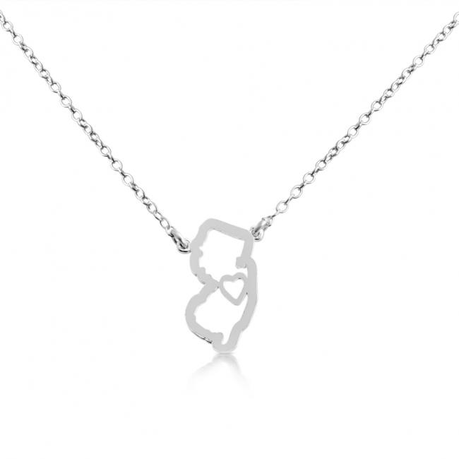 925 sterling silver necklace New Jersey Home is Where The Heart Is State Necklace