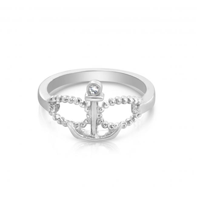 925 sterling silver ring 2mm (0.03 ct. tw) Diamond Infinity & Anchor