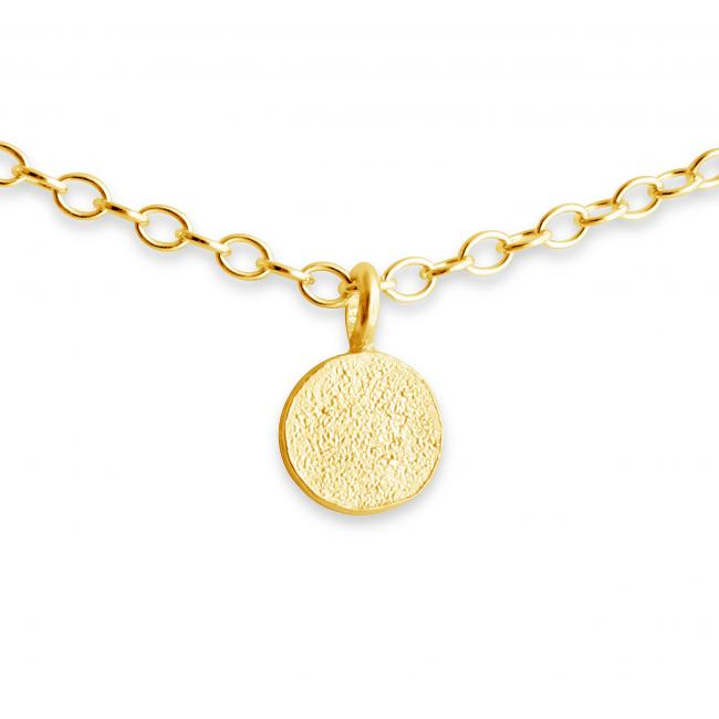 Gold plated necklace Tiny Textured Coin Disc
