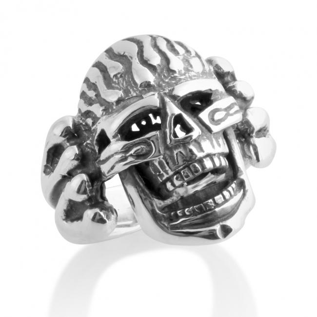 925 sterling silver ring Large Skull with Flames Biker Motorcycle Hardcore Born to Ride Mens Ring Moving Jaw
