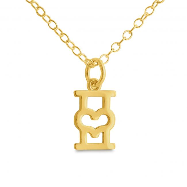 Gold plated necklace Initial Letter I with Heart