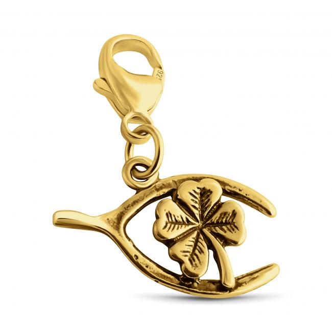 Gold plated necklace Wishbone Four Leaf Clover Lucky