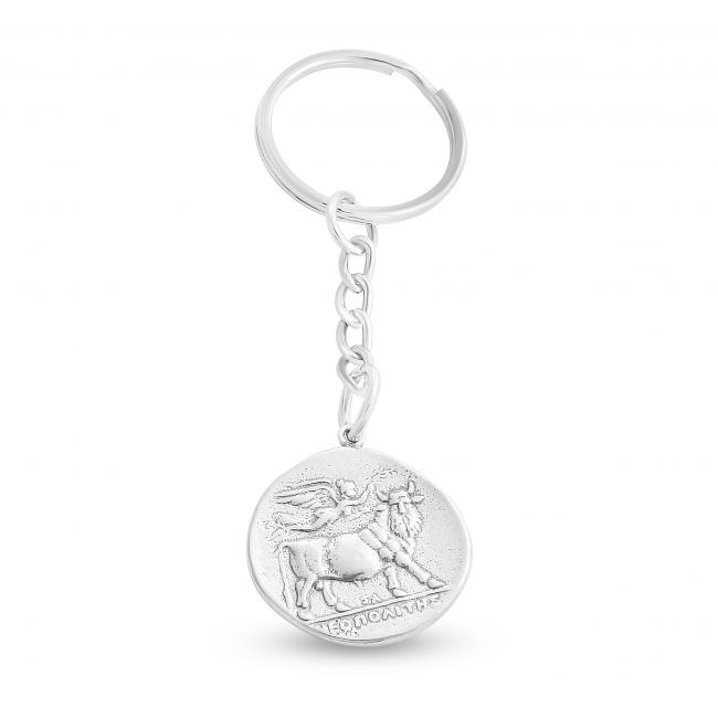 925 sterling silver keychain Replica Campania Neapolis Ancient COIN Keychain