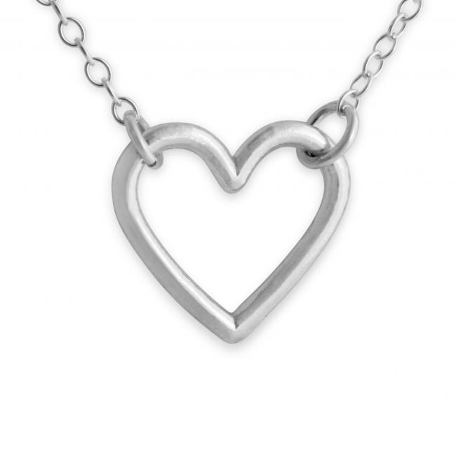 925 sterling silver necklace Open Hanging Heart