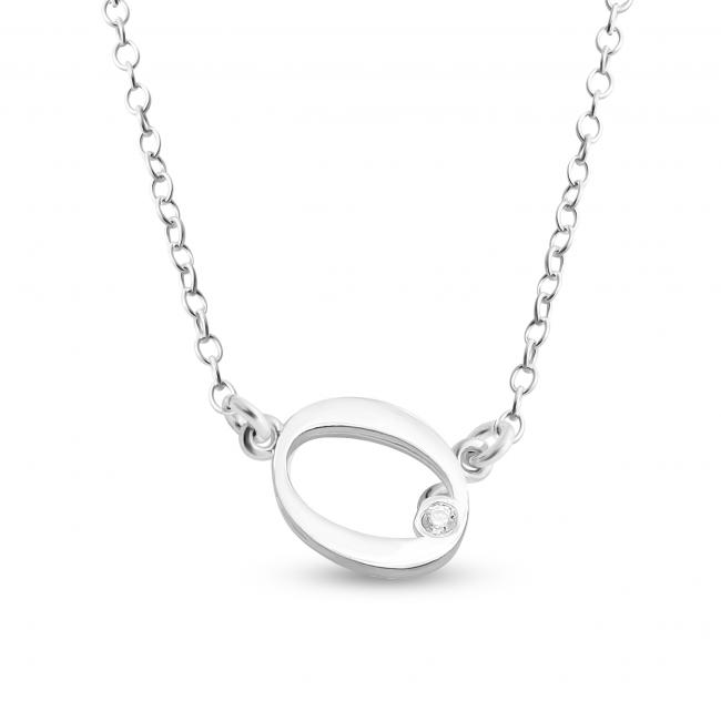 925 sterling silver necklace Initial Script Letter O with CZ Sideways