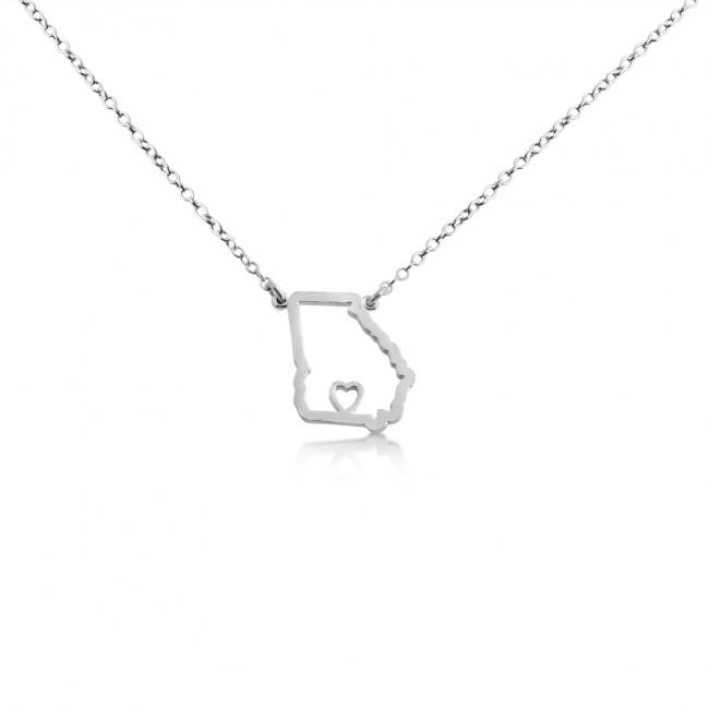 925 sterling silver necklace Georgia Home is Where The Heart Is State Necklace
