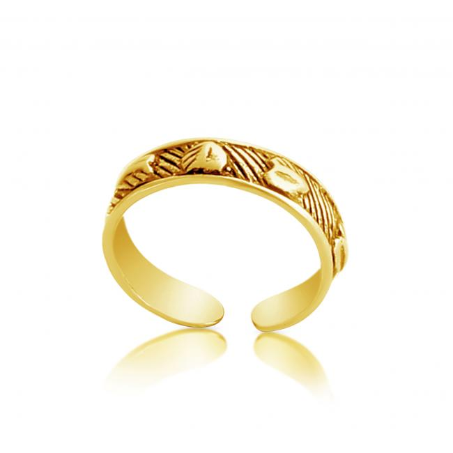 Gold plated ring Textured Hearts Adjustable Toe Ring