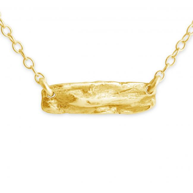 Gold plated necklace Textured Bar