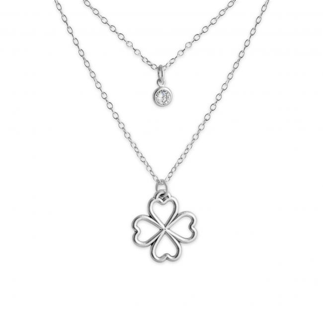 925 sterling silver necklace Valentines Array of Four Hearts Leaf Clover Lucky in Love and CZ w/ Double Chain