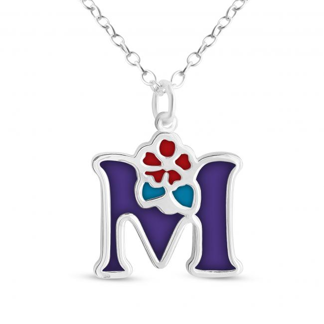 925 sterling silver necklace Colored Initial Letter M with Flower