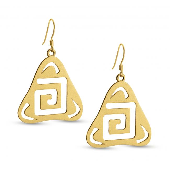 Gold plated earrings Outline Square G Textured Triangle Shape