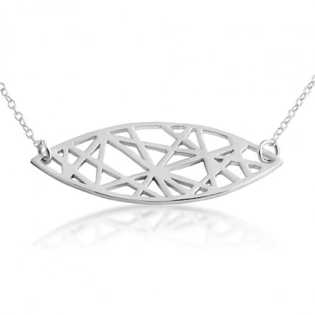 925 sterling silver necklace Abstract Mandorla Sideways