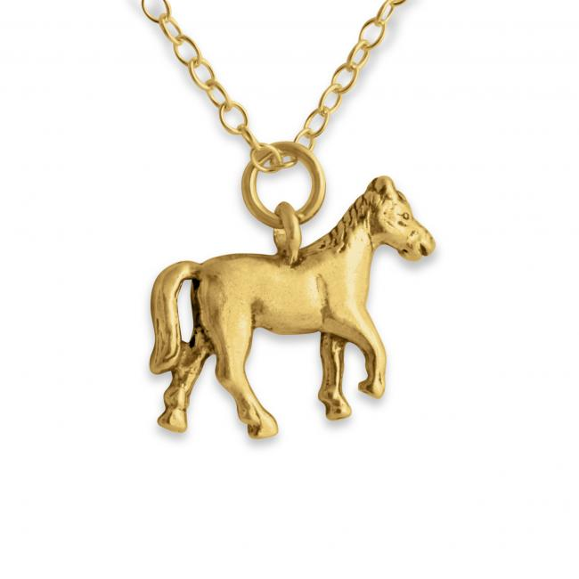 Gold plated necklace Solid 3D Trotting Horse