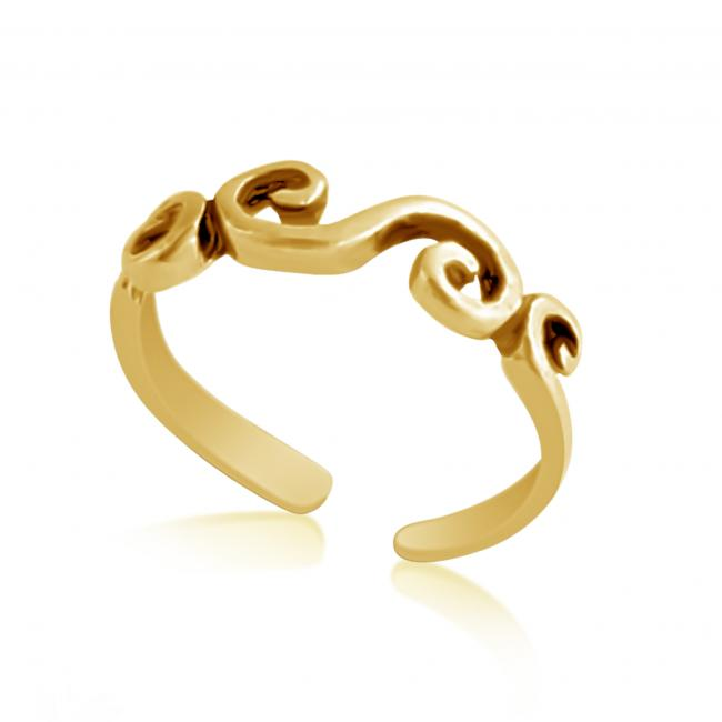 Gold plated ring Curls Adjustable Toe Ring