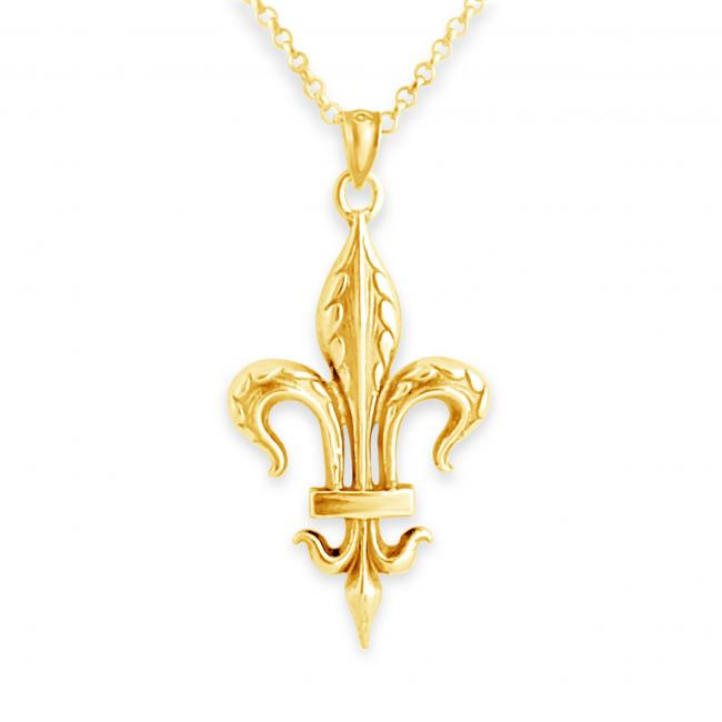 Gold plated necklace Large Fleur de Lis