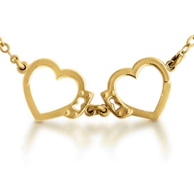 Gold plated necklace Open Heart Shaped Love Handcuffs