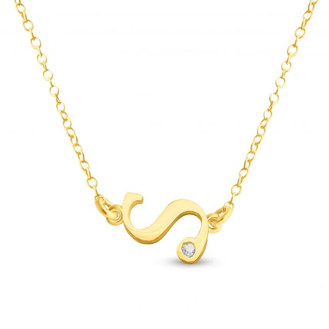 Gold plated necklace Initial Script Letter S with CZ Sideways