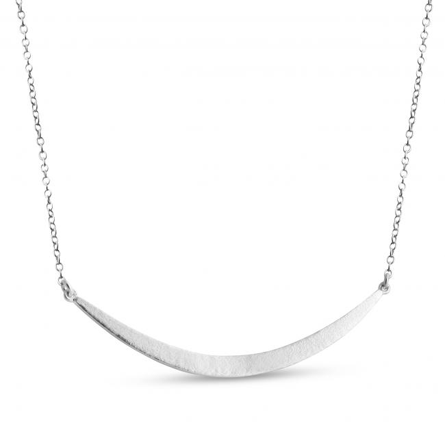 925 sterling silver necklace Solid Crescent Moon Sideways