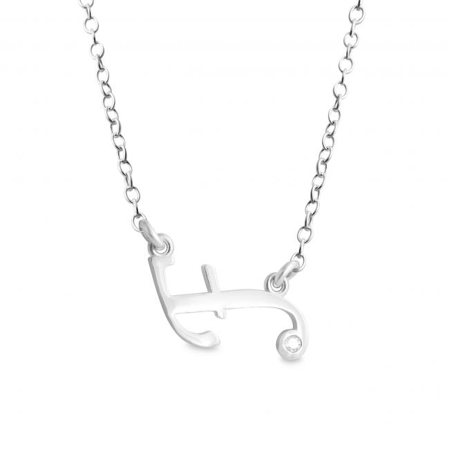 925 sterling silver necklace Initial Script Letter F with CZ Sideways