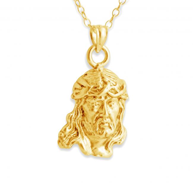 Gold plated necklace Jesus Christ w/ Crown of Throwns