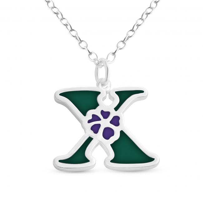 925 sterling silver necklace Colored Initial Letter X with Flower
