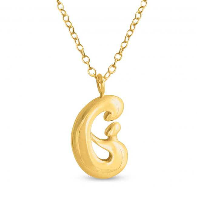 Gold plated necklace Mother and Child Hand in Hand
