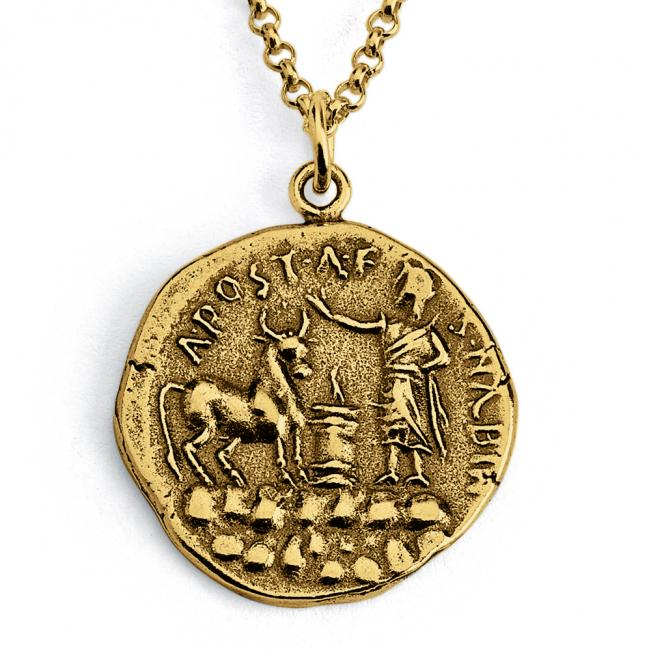 Gold plated necklace Replica A. Postumius Albinus Ancient Roman COIN