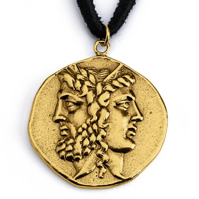 Gold plated necklace Replica Zeus and Hera Janiform Greek God and Goddess Ancient COIN