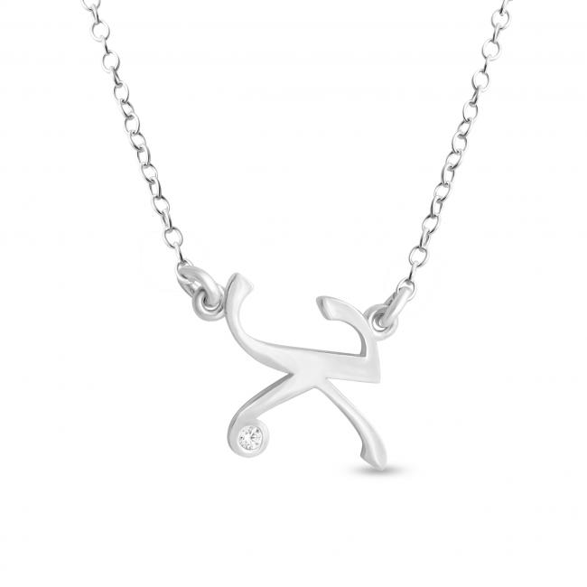 925 sterling silver necklace Initial Script Letter K with CZ Sideways