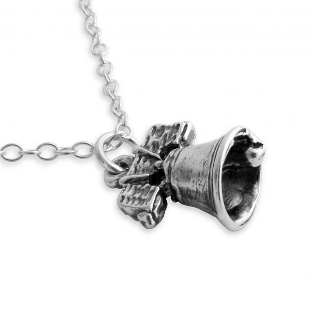 925 sterling silver necklace 3D Liberty Bell Symbol of American Independence Philadelphia