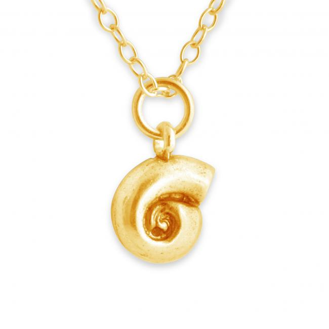 Gold plated necklace Water Snail Shell Double Sided Beach