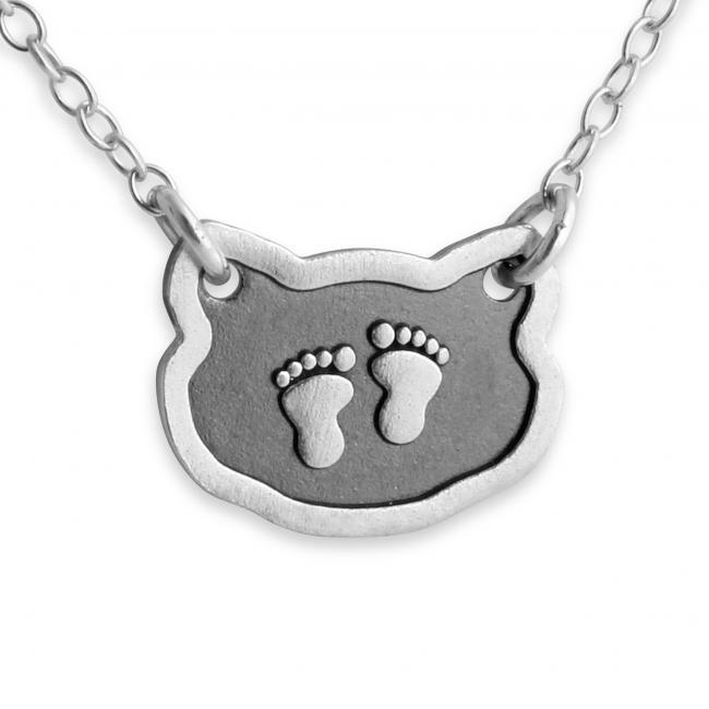 925 sterling silver necklace Baby Foot Prints