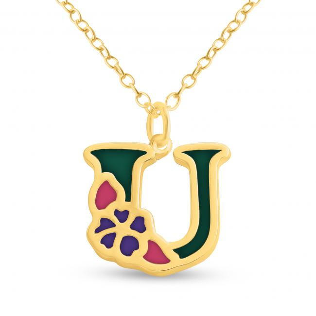 Gold plated necklace Colored Initial Letter U with Flower