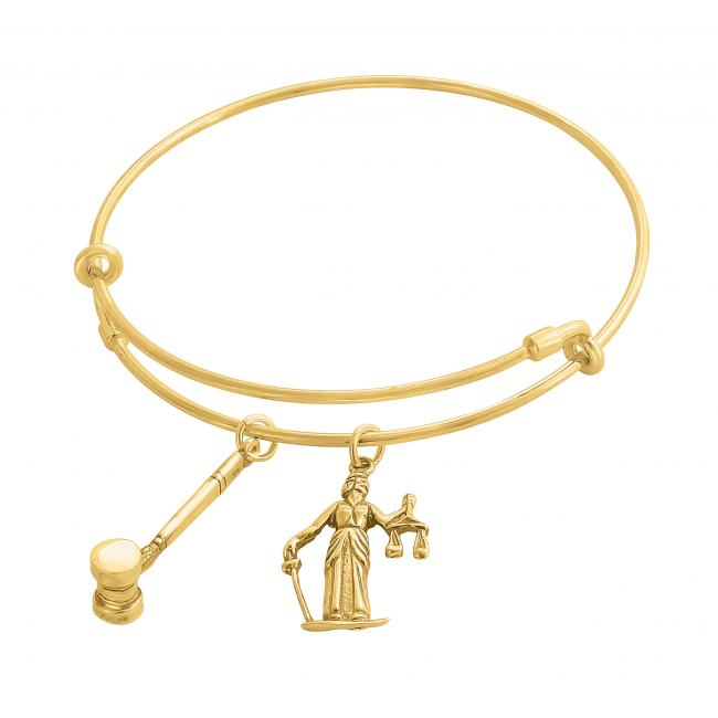 Gold plated bracelet Lady Justice Adjustable Wire Bangle