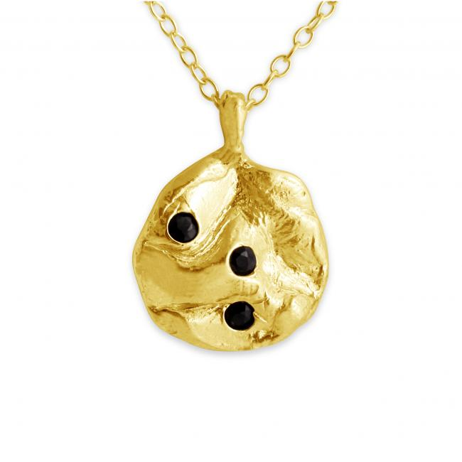 Gold plated necklace Triple Black Onyx Disc
