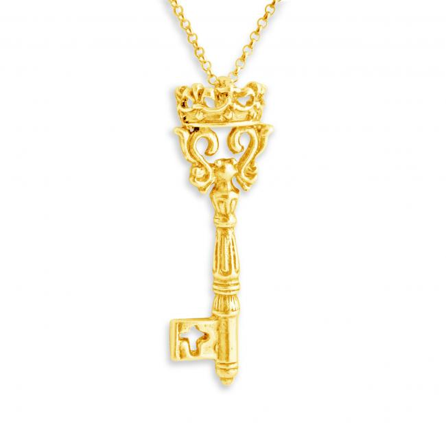 Gold plated necklace Vintage Key w/ Crown