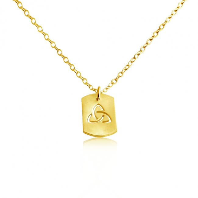 Gold plated necklace 3-Sided Infinity Dog Tag