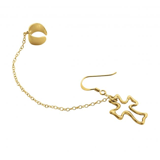 Gold plated earrings Outline Cross Ear Cuff
