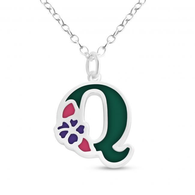 925 sterling silver necklace Colored Initial Letter Q with Flower