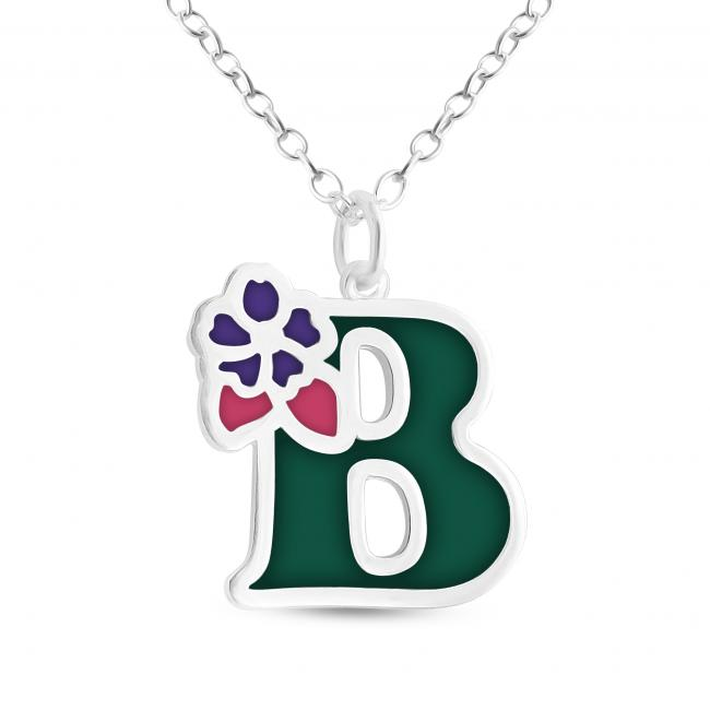 925 sterling silver necklace Colored Initial Letter B with Flower
