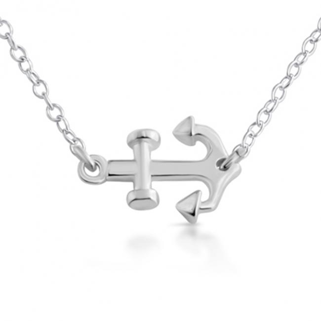 925 sterling silver necklace Sideways Anchor