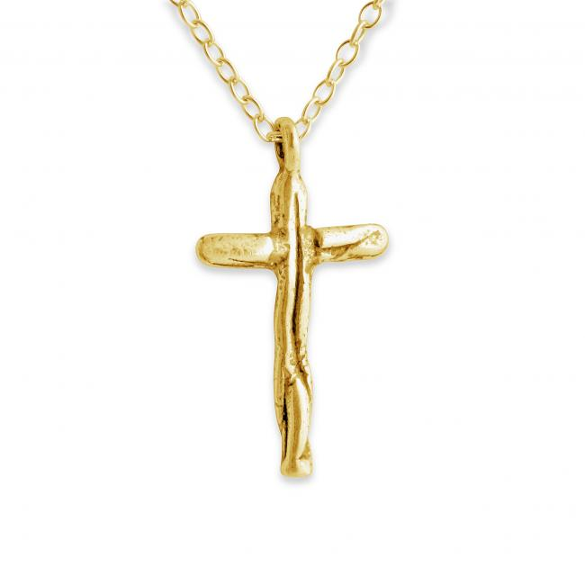 Gold plated necklace Textured Cross