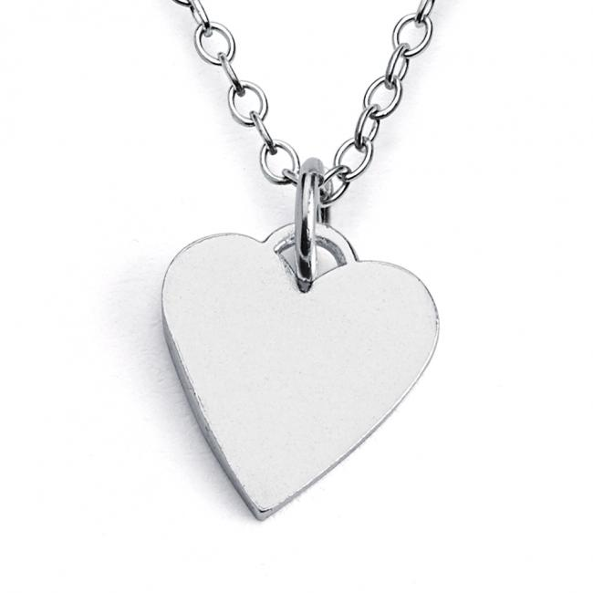 925 sterling silver necklace Solid Flat Plain Heart Love
