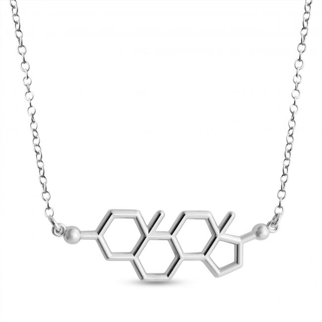 925 sterling silver necklace Testosterone Molecule Male Sex Hormone Chemical Structure