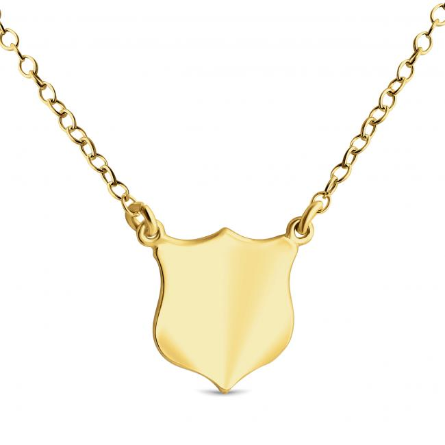 Gold plated necklace Solid Shield Silhouette Sideways